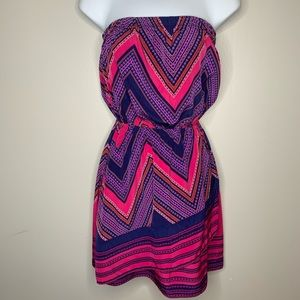 Express Pink and Purple Strapless Chevron Dress